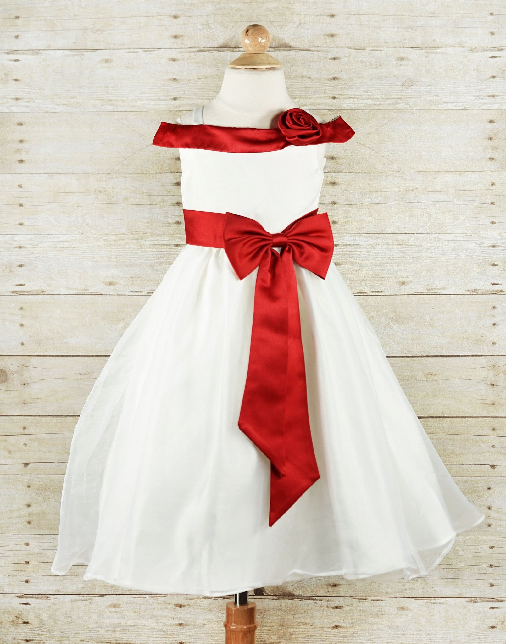 Stunning Ruby Red Sash And Bow Flower Girl Tulle Dress Red
