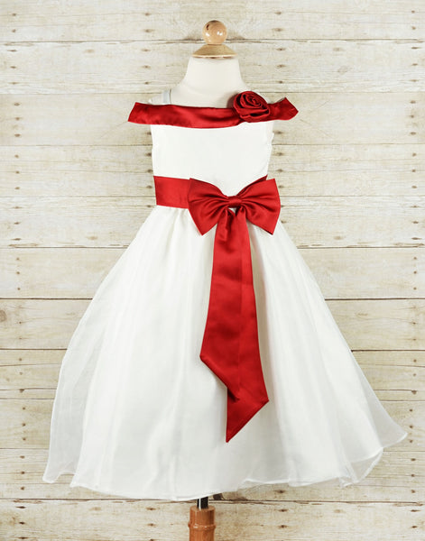 a4089eacc Ruby Red Sash and Bow Flower Girl Tulle Girl Dress RED Party Dress Special  Occasion Dress