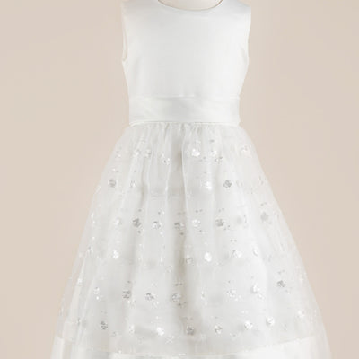 Adorable White Floral Net and Taffeta Dress