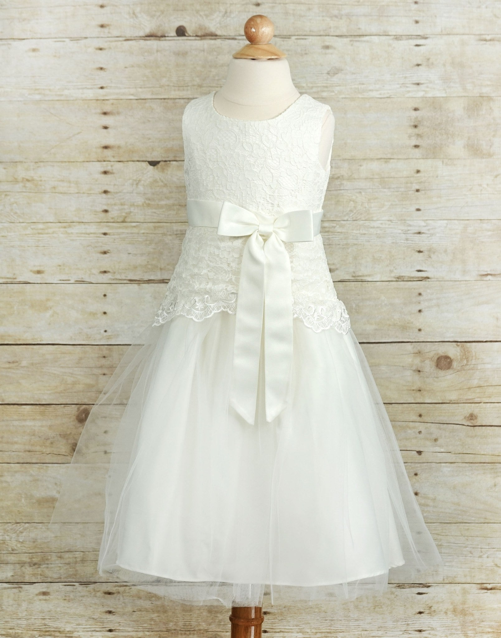 Dazzling Lace And Mesh Flower Girl Dress White Efavormart