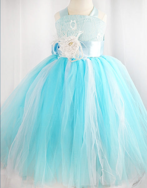 83ea562d89ad Fairy Tutu Flower Girl Dress for Wedding Turquoise Party Dress Special  Occasion Dress