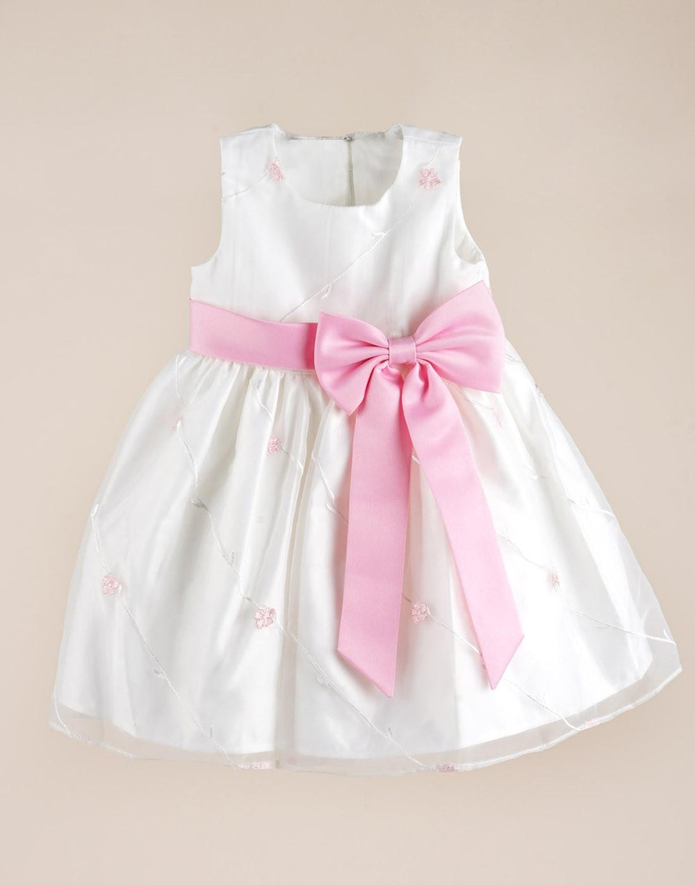 Ivory And Pink Floral Pleated Flower Girl Dress Efavormart