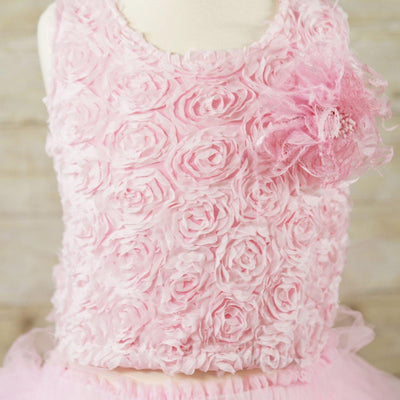 Baby Pink Tutu with Floral Lace Bodice - Child-2