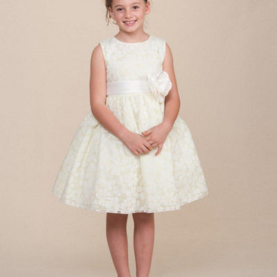 Bewitching Sleeveless Lace Flower Girl Dress - Ivory