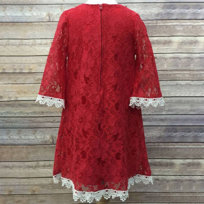 Floral Lace Dress With a Pearl Necklace - Red