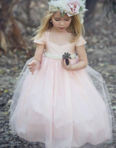 3c250fb5b67 Flower Girl Dress Satin Bodice and Tulle Overlay Dress W  Belt Ivory Party Dress  Special