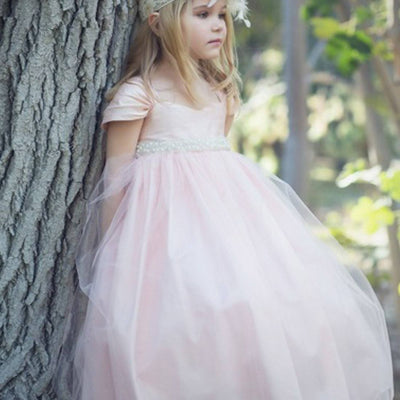 Glistening Satin Bodice and Tulle Overlay Skirt Dress With Pearl Belt - Blush