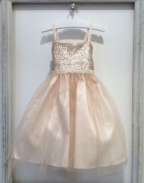 a8dafe8a118 Flower Girl Dress Sequined Bodice and Tulle Overlay Skirt Champagne Party  Dress Special Occasion Dress