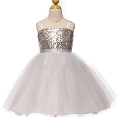 Twinkling Sequined Bodice and Tulle Overlay Skirt Dress - Silver