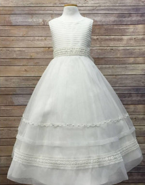 Ivory Striped Organza and Beaded Lace Trim Dress - Ivory
