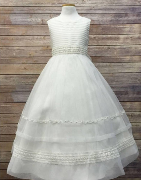 3849a9de41 Flower Girl Dress Ivory Striped Organza and Beaded Lace Trim Dress Ivory  Party Dress Special Occasion