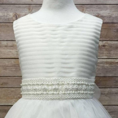 Flower Girl Dress Ivory Striped Organza and Beaded Lace Trim Dress Ivory Party Dress Special Occasion Dress