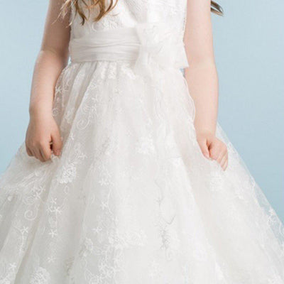Ivory Floral Embroidered Organza Overlay Dress with Scallop Hemline - Ivory