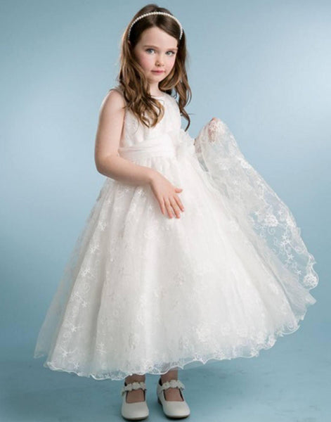 65aaed88ffa Flower Girl Dress Ivory Floral Overlay Dress with Scallop HemlineIvory  Party Dress Special Occasion Dress