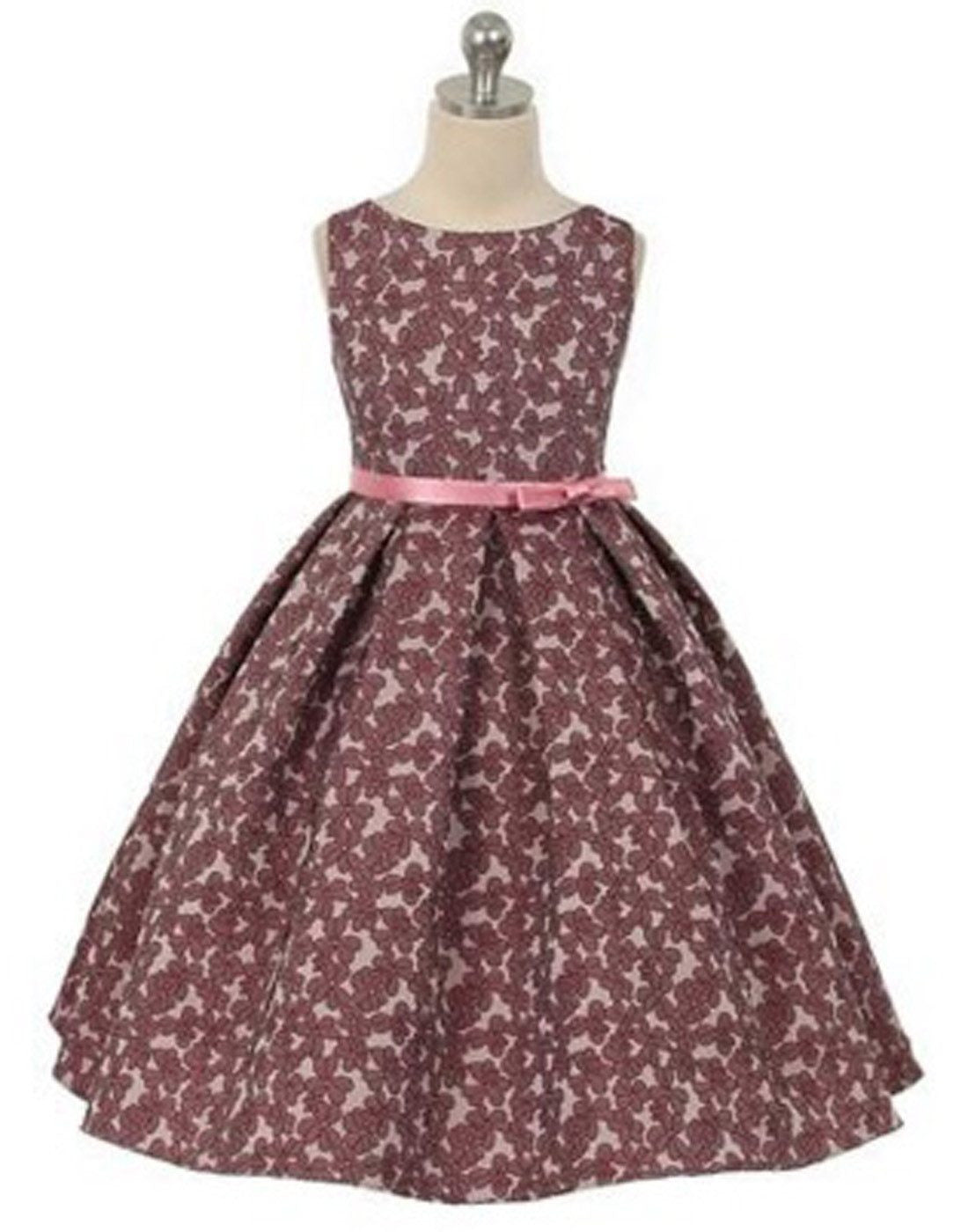 Blossomy Floral Print Flower Girl Dress Dusty Rose Efavormart