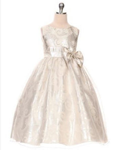 Glittery Gold and Aqua Organza Overlay Jacquard Dress with a Bow - Silver