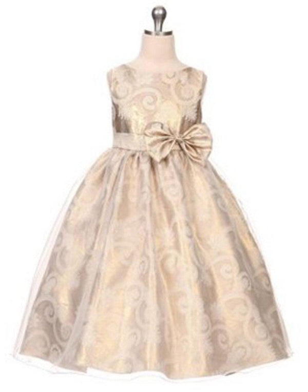 cc12aafe1d3 Glittery Gold and Aqua Organza Overlay Jacquard Dress with a Bow - Gold