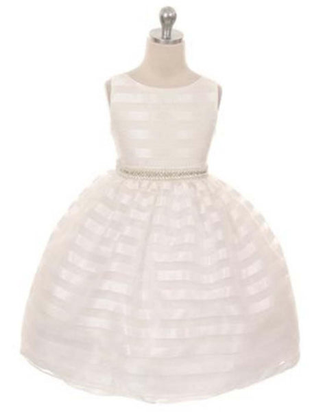dc3c60a628ed Flower Girl Dress Organza Striped Overlay Dress with Gem Belt Ivory Party  Dress Special Occasion Dress
