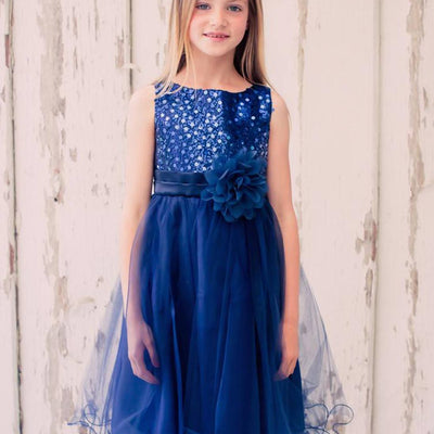 Glittery Sequined Bodice and Double Layered Mesh Dress - Navy Blue