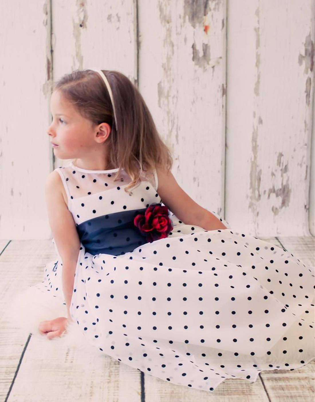 Polka Dot Organza Overlay Dress With An Organza Sash White Black