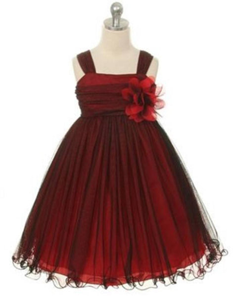 Flower girl dresses tableclothsfactory flower girl dress mesh and taffeta overlay dress dress black red party dress special occasion mightylinksfo