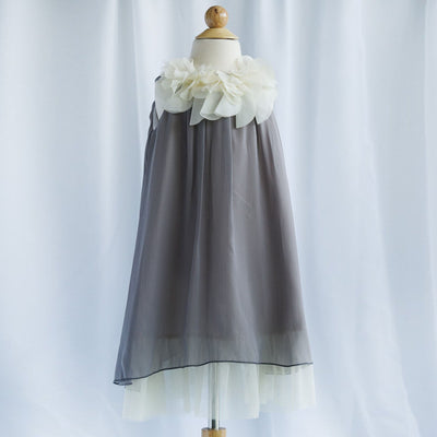 Chic Chiffon Dress With Ivory Flower Neckline - Silver