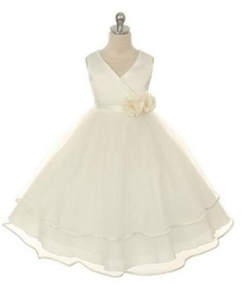 a1f28e6b Flower Girl Dress Vneck Satin Bodice and Tulle Layered Girls Skirt Party  Dress Special Occasion Dress