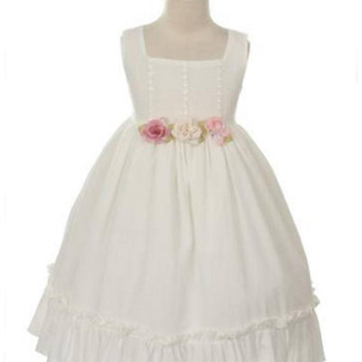 Sleeveless Linen Dress with Flower Trims - Ivory