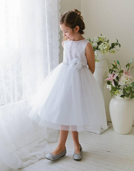 2c7ada838a6 Flower Girl Dress Glamorous Lace tulle Dress with Flower Accented Belt  Party Dress Special Occasion Dress
