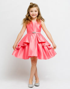 Lustrous Satin Layered Dress with a Rhinestone Brooch - Coral