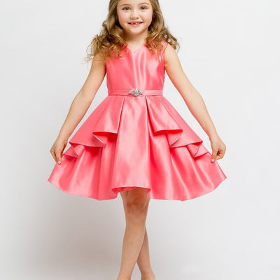 Lustrous Satin Layered Dress with a Rhinestone Brooch - Fuchsia