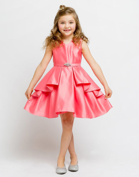 Flower Girl Dress Satin Layered Dress with a Rhinestone BroochCoral Party Dress Special Occasion Dress