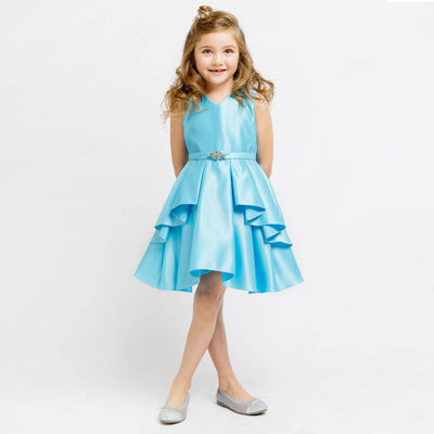 Lustrous Satin Layered Dress with a Rhinestone Brooch - Turquoise