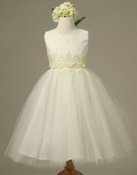 c388928a3ec Flower Girl Dress Pearl and Lace Embellished Tulle Dress Ivory Party Dress  Special Occasion Dress