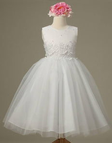 Pearl and Lace Embellished Tulle Dress - White