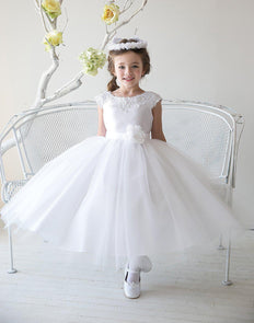 Lustrous Satin and Tulle Dress with Crochet Trim and Flower - White - Child-2