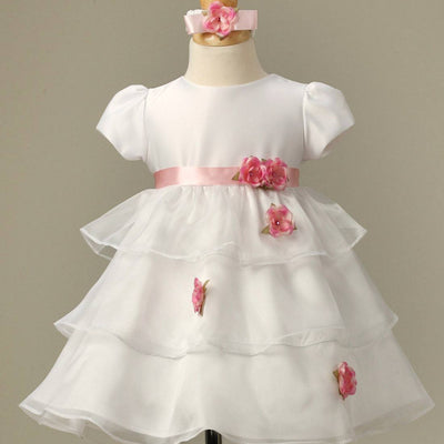 Flower Girl Dress Silky Satin and Sheer Tulle Floral Dress  Lilac Party Dress Special Occasion Dress