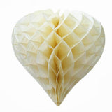 "12 Pack 16"" Ivory Heart-Shaped Honeycomb Paper Lantern"
