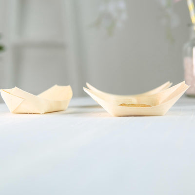 "50 Pack | 4"" Wooden Disposable Food Boats 