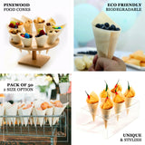 "50 pack | 5"" Eco-Friendly Natural Pinewood Food Cones 