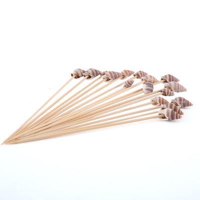 "100 Pack | 5"" Eco-Friendly Natural Bamboo Skewers Cocktail Picks with Shell Top 