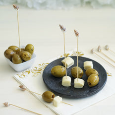 100 Pack | 5 inch Natural Party Picks with Shell Top, Bamboo Skewers, Decorative Top Cocktail Sticks