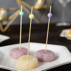 5 inch Eco Friendly Party Picks with Colorful Pearls,  Bamboo Skewers, Cocktail Sticks