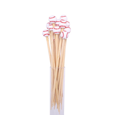 "100 Pack | 5"" Eco-Friendly Biodegradable Bamboo Skewers Cocktail Picks with Baseball Top 