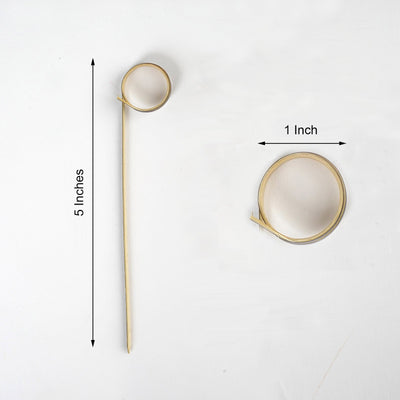 "100 Pack | 5"" Eco-Friendly Black Loop Ring Bamboo Skewers Cocktail Picks 