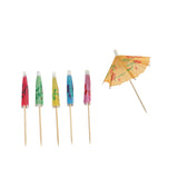 "100 Pack | 4"" Eco-Friendly Disposable Assorted Parasols Umbrella Picks 