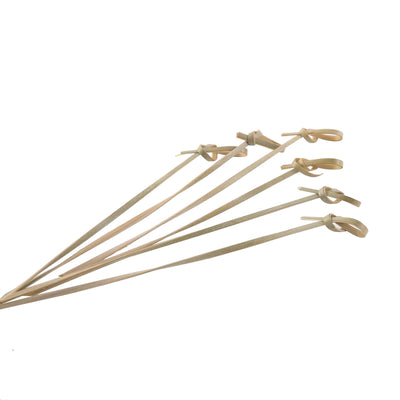 "100 Pack | 6"" Eco-Friendly Twisted Knot Bamboo Skewers Cocktail Picks 