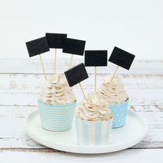 100 Pack- 4.5 inch Blank Chalkboard Sign Party Picks, Bamboo Skewers, Decorative Top Cocktail Sticks