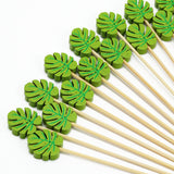 100 Pack- 5 inch Tropical Leaf Party Picks, Bamboo Skewers, Decorative Top Cocktail Sticks