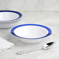 10 Pack | 12 oz Royal Blue with Silver Rim Round Disposable Soup Bowl - White